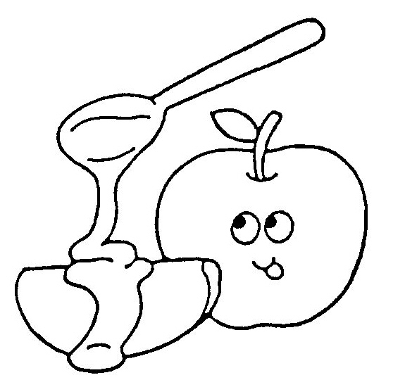 Apples and honey coloring page